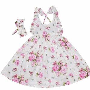 Dresses - NWT Girls White Pink Floral Summer Dress Set